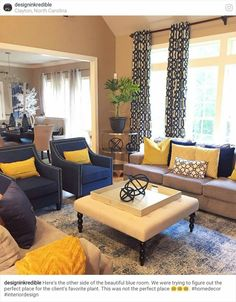 Living Room Color Scheme, At Home Has Navy Accent Chairs!