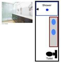 Free bathroom floor plans for your next remodeling project - for your master bathroom, 2nd bathroom, or powder/guest bathroom.: Plans For a Long, Narrow Bathroom