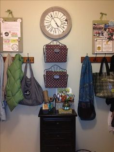 """Mudroom Makeover www.janellepowell.willowhouse.com  DESCRIPTION:  Now the other wall in the mudroom was designed to be a space for all the coats, papers, photos, invitations, and general """"clutter"""". I LOVE these french wire convertible baskets! Each one of my kids got their own to hold all the papers from school, sports, and activities. The mini markers were used to label whose was whose! Then the Zella Memo Boards were the perfect place to hang photos, invitations, and reminder..."""
