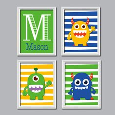 Monster Custom Monogram Personalized Boy Name Stripe by trmDesign, $35.00