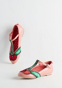 With a Flair-y on Top Flat. Youre looking poised and pretty-pleased when flaunting these fabulously fruity flats from London brand Miss L Fire! #pink #modcloth