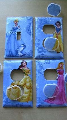 Disney Princess Set Light Switch Toggle Cover Plate and 3 Outlets includes child safety plugs