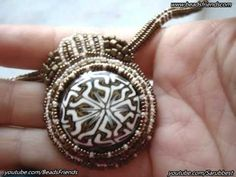 Bead embroidery necklace: a polymer clay cabochon pendant surrounded with beads   Beaded Jewelry