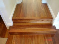 Joining one area to another often involves a few steps here we have installed treads and risers out of tongue and groove floorboards