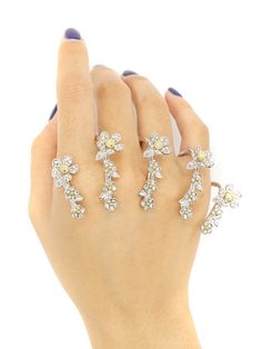 Shop Silver Rhinestone Flower Embellished Linked Ring Pack from choies.com .Free shipping Worldwide.$11.69