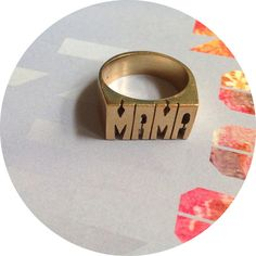 Seen on /// Bleubird Blog, Treasures and Travels, AscotFriday, and Erin Mayshed*if you need a smaller ring let us know and we can get you a slim MAMA ring. THIS ITEM IS /Made to Order* /Hand cut /Available in Brass or SilverMade to Order* *All made to order items can take up to 5 weeks to create due to the amount of orders we are receiving at this time. Thank you for your patience and understanding.
