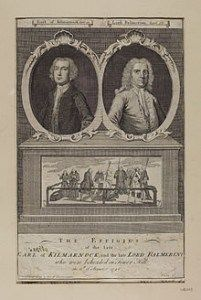 Images of Earl of Kilmarnock and Lord Balmerino with a scene of their execution in August of 1746