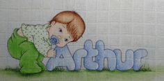 Pinturas e trabalhos manuais Embroidery Patterns, Machine Embroidery, Baby Girl Scrapbook, Sewing School, Boy Pictures, Baby Portraits, Baby Art, Fabric Painting, Beautiful Babies