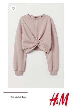 Short, soft sweatshirt with long sleeves and ribbed cuffs. Slightly shorter front with knot detail at hem. H M Outfits, Teenage Outfits, Crop Top Outfits, Cute Casual Outfits, Stylish Outfits, Stylish Clothes, Spring Outfits, Girls Fashion Clothes, Teen Fashion Outfits