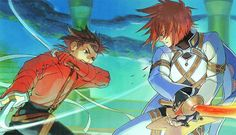 Tags: Anime, Dual Wield, Tales of Symphonia, Kratos Aurion, Lloyd Irving, Fighting