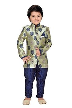 Klaud Zee Kid's Sherwani and Breeches Set - http://www.zazva.com/shop/kids-clothing-accesories/klaud-zee-kids-sherwani-breeches-set/ Fabric:Cotton Blend Age Group : 6 Months – 11 Years Set: Sherwani and Breeches