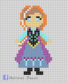 Princess Anna - Frozen perler pattern - Patrones Beads / Plantillas para Hama