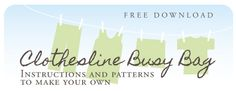 Free Clothesline Busy Bag instructions and pattern download