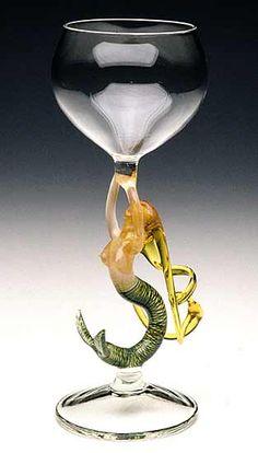 Mermaid Ascending (Blonde Goblet): Milon Townsend: Art Glass Goblet - Artful Home