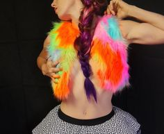 Rainbow Glow Fur Vest LED and Blacklight reactive by MDMAtelier