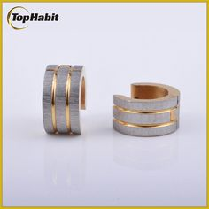Features of Silver Stripe Gold Plated Stainless Steel Earrings Hoops: Tophabit® Silver Stripe Gold Plated Stainless Steel Earrings Hoops is high-quality jewelry with fashion design and reasonable price, exactly what you are looking for!   Silver Stripe Gold Plated Stainless Steel Earrings Hoops Ithasalmostsameshinyandbeautifulappearancetosilverandplatinum itwillnottarnishandgetrusty itisapopularchoiceamongthosewhomayhavemetalallergies