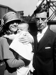 Buster Keaton with wife Natalie Talmadge and son Joseph, 1922