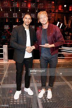 German singer Andreas Bourani and Samu Haber, finnisch singer and frontman of the band Sunrise Avenue attend the photocall for the six season of 'The Voice of Germany' on August 31, 2016 in Berlin, Germany.