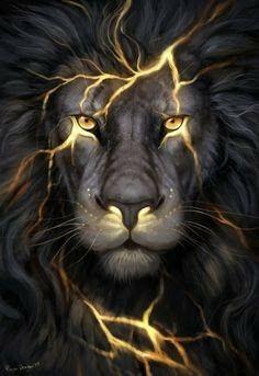 Lion of Judah prophetic art with fire bursting.