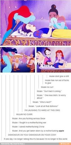 While Other Disney Princesses Mourn For Snow White, Mulan don't give any fucks.thank god for funny people and their twisted outlook on the world (and Disney princesses). Funny Quotes, Funny Memes, Jokes, Disney Love, Disney Magic, Disney Stuff, Disney Girls, Disney And Dreamworks, Disney Pixar