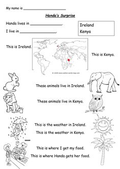 Worksheet based on the story Handa's Surprise by Eileen Browne, for children to compare their own country to Kenya - the weather, animals, food, location e. English Book, Learn English, Talk 4 Writing, Handas Surprise, Ireland Weather, Literacy Worksheets, Hungry Caterpillar, Year 2, Eyfs