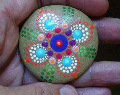 Large Beach Stone Hand Painted Rainbow Dot by P4MirandaPitrone