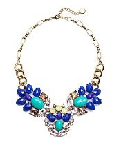 Gemstone Peacock Necklace in Blue