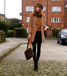 style, fashion, heels, coat, hat, long bob, hair, fringe, 60s, retro, autumn