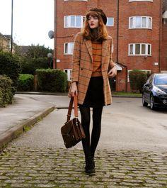 style, fashion, heels, coat, hat, long bob, hair, fringe, 60s, retro, autumn