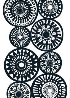 black  white pattern designed by Sanna Annukka for Marimekko.