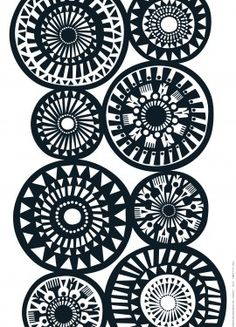 Quilting pattern perhaps? black & white pattern designed by Sanna Annukka for Marimekko. Black White Pattern, Black And White Design, White Patterns, Color Patterns, Print Patterns, Pattern Ideas, Colour Schemes, Motifs Textiles, Textile Patterns