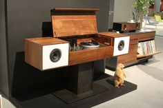 Symbol Audio launched its brand new line of modern audio cabinets and LP storage. This stuff is absolutely gorgeous. And their mascot was a woodchuck named Fred. ;)