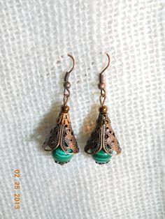 Copper Bell Malachite Earrings St Parick's Day by LamplightGifts, $6.00