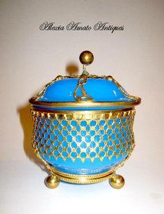 Periods & Styles Antique 19th C Art Nouveau Blue Glass Crackle Jewel Casket With Bronze Mounts Art Nouveau