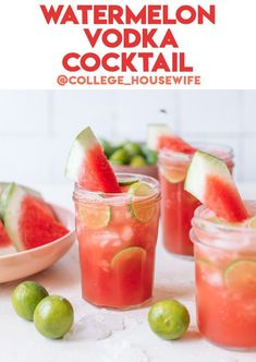 This easy four-ingredient Watermelon Vodka Drink is a perfect summer cocktail! Blended with watermelon chunks, lime juice, and vodka for a smooth drink. Watermelon Vodka Drinks, Watermelon Smoothie Recipes, Watermelon Mint, Fruity Cocktails, Cocktail Recipes With Vodka, Watermelon Alcoholic Drinks, Aperol Drinks, Strawberry Cocktails, Spring Cocktails
