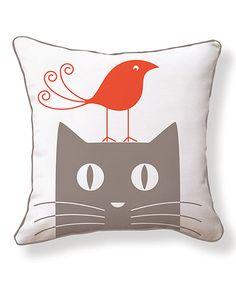 Look at this #zulilyfind! Bird & Cat Reversible Throw Pillow by NAKED DECOR #zulilyfinds