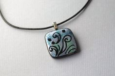 Handmade pastel blue, aqua, green, purple engraved art glass necklace | GrapevineGlassArt - Jewelry on ArtFire