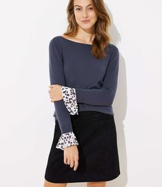 ab4514a69fb06 Spotted Flounce Cuff Sweater | LOFT Sweater Shop, Cold Weather Fashion,  Knit Picks,