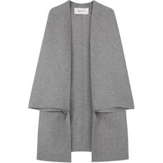 Valentino Grey Stretch Wool Blend Cape (€680) ❤ liked on Polyvore featuring outerwear, coats, jackets, cape, coats & jackets, cape coat, grey cape, grey coat, gray coat and valentino coat