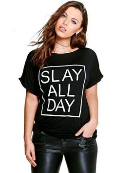 Plus Size T-Shirt 'Slay All Day' T-Shirt