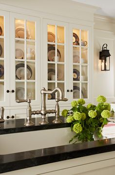 #Kitchen #Traditional.  Beautiful white kitchen cabinets, open glass with black hardware country kitchen