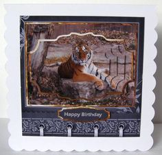 Tiger relaxing card with shaped layers on Craftsuprint designed by Angela Wake - made by Margaret McCartney - I printed the design onto good quality photographic paper and cut it out. I scored and folded a 6x6 scalloped edged card landscape. I attached the design to the card using double sided tape. I assembled the pyramid and added the greeting using thin foam tape.  - Now available for download!