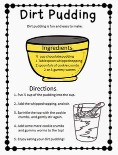 Dirt Pudding Freebie!  Great functional text activity!