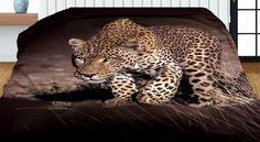 Hnedé obojstranné prehozy s potlačou leoparda Panther, 3d, Animals, Animales, Animaux, Panthers, Animal, Animais, Black Panther