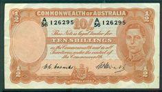 R14 AUSTRALIA 10/ 1949 COOMBS/WATT PREDECIMAL NOTE RARE EF
