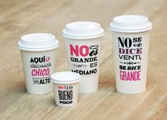 coffee cups making fun of starbucks lingo, spotted at cielito querido cafe in mexico Coffee Packaging, Brand Packaging, Packaging Design, Coffee Branding, Cosmetic Packaging, Product Packaging, Food Packaging, My Coffee, Coffee Shop