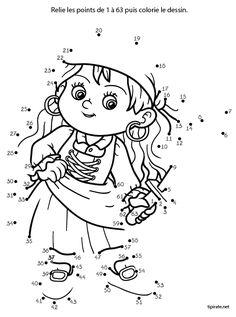 Relier les points de 1 à 63 Kids Learning Activities, Le Point, Dots, Education, School, Montessori, Fictional Characters, Puzzle, Activities