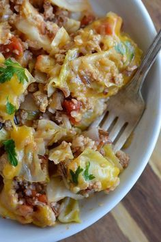 Easy Stuffed Cabbage Casserole is a one pot dinner recipe that is ready in 30 minutes or less! Perfect for a quick weeknight meal. #dinner wonkywonderful.com