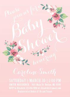 Printable Baby Shower Invitation - Spring/Summer Baby Shower - Baby Girl Invitation. $15.00, via Etsy.