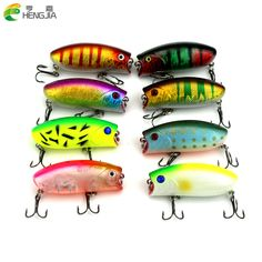 100pcs 6CM 10.4G Popper lures Fishing Lures Top Water Crank Bait Fishing Tackle Treble Hook Hard Plastic Lures